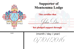 20160621 - Supporter of Montezuma - preliminary supporter card front SAMPLE
